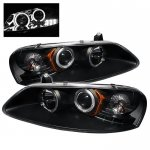 Dodge Stratus Sedan 2001-2006 Black Dual Halo Projector Headlights with LED