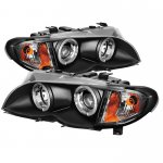 2002 BMW E46 Sedan 3 Series Black Halo Projector Headlights