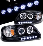 1999 Ford Expedition Black Halo Projector Headlights with LED