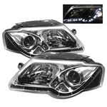 VW Passat 2006-2009 Clear Projector Headlights with LED Daytime Running Lights