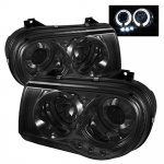 Chrysler 300C 2005-2010 Smoked Halo Projector Headlights with LED