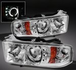 Dodge Ram Sport 1999-2001 Clear Halo Projector Headlights with LED
