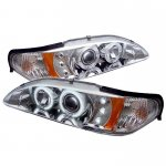 1994 Ford Mustang Clear Dual CCFL Halo Projector Headlights with LED