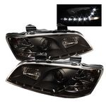 Pontiac G8 2008-2009 Black Projector Headlights with LED Daytime Running Lights