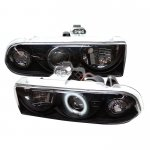 2002 Chevy S10 Black CCFL Halo Projector Headlights