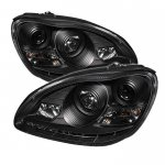 2006 Mercedes Benz S Class Black Projector Headlights with LED Daytime Running Lights
