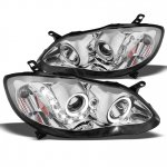 2007 Toyota Corolla Chrome Projector Headlights Halo LED