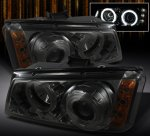 2003 Chevy Silverado 2500 Smoked CCFL Halo Projector Headlights with LED