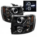 Chevy Silverado 2007-2013 Black Dual Halo Projector Headlights with LED