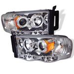 Dodge Ram 2002-2005 Clear Halo Projector Headlights with LED