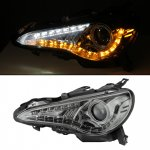 2013-2014 Scion FRS Smoked Projector Headlights LED DRL