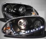 VW Rabbit 2006-2009 Black HID Projector Headlights LED DRL