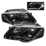 VW Passat 2006-2009 Black Projector Headlights with LED Daytime Running Lights