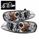 Dodge Stratus Sedan 2001-2006 Clear Dual Halo Projector Headlights with LED