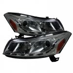 2008 Honda Accord Sedan Smoked Projector Headlights with LED DRL