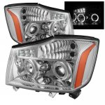 Nissan Titan 2004-2013 Chrome Projector Headlights Halo LED