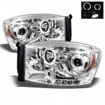 Dodge Ram 2500 2006-2009 Clear Dual Halo Projector Headlights LED