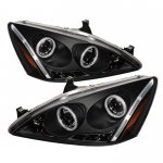 2003 Honda Accord Black CCFL Halo Projector Headlights with LED DRL