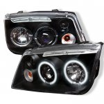 2004 VW Jetta Black Dual CCFL Halo Projector Headlights