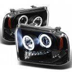 2005 Ford F350 Super Duty Black CCFL Halo Projector Headlights with LED