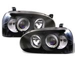 1994 VW Golf Black Halo Projector Headlights with Integrated LED