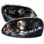 VW Rabbit 2006-2009 Black Projector Headlights with LED Daytime Running Lights