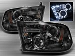 2012 Dodge Ram Smoked Halo Projector Headlights with LED DRL