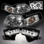 Ford Mustang 1999-2004 Clear Halo Projector Headlights and Fog Lights Set