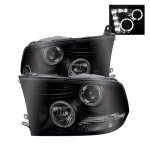 2012 Dodge Ram Black Smoked Halo Projector Headlights LED DRL
