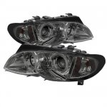 BMW E46 Sedan 3 Series 2002-2005 Smoked Halo Projector Headlights