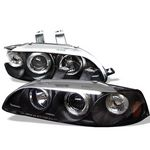 Honda Civic Sedan 1992-1995 JDM Black Dual Halo Projector Headlights with Corner Lights