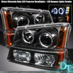 2003 Chevy Silverado Black Halo Projector Headlights and Bumper Lights Set