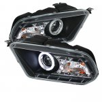 2011 Ford Mustang Black CCFL Halo Projector Headlights with LED