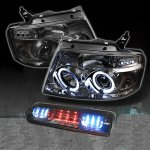 2004 Ford F150 Smoked Halo Projector Headlights and LED Brake Light