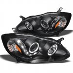 2007 Toyota Corolla Black Projector Headlights Halo LED