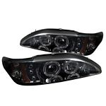 1994 Ford Mustang Smoked Dual Halo Projector Headlights with Integrated LED