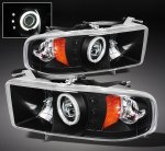 2001 Dodge Ram 2500 Sport Black CCFL Halo Projector Headlights with LED