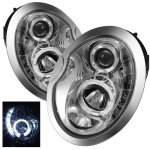 Mini Cooper 2002-2006 Clear Halo Projector Headlights with LED Daytime Running Lights