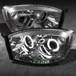 2006 Dodge Ram Smoked CCFL Halo Projector Headlights with LED