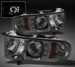 2000 Dodge Ram Sport Smoked Halo Projector Headlights with LED