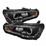 Mitsubishi Lancer 2008-2012 Black Halo HID Projector Headlights with LED