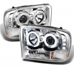 Ford F250 Super Duty 1999-2004 Clear CCFL Halo Projector Headlights with LED