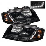 2002 Audi A6 Black Projector Headlights with LED Daytime Running Lights