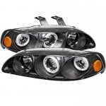 1993 Honda Civic Black Dual CCFL Halo Projector Headlights