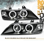 1997 BMW Z3 Black Dual Halo Projector Headlights