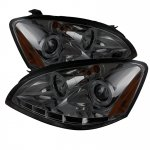Nissan Altima 2002-2004 Smoked Dual Halo Projector Headlights with LED