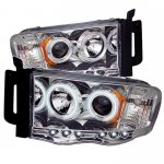 Dodge Ram 2002-2005 Clear CCFL Halo Projector Headlights with LED