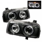 VW Jetta 1993-1998 Black Halo Projector Headlights with LED