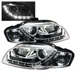 Audi A4 2006-2008 Clear Projector Headlights with LED Daytime Running Lights