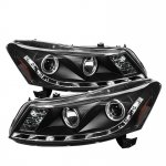 2011 Honda Accord Sedan Black Projector Headlights with LED DRL